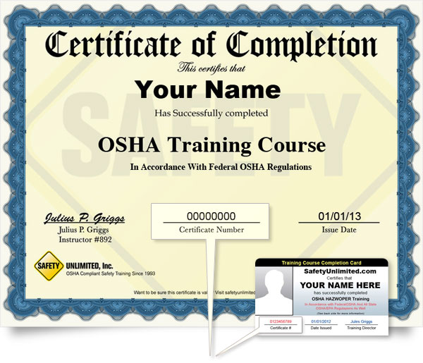 Certificate Numbers